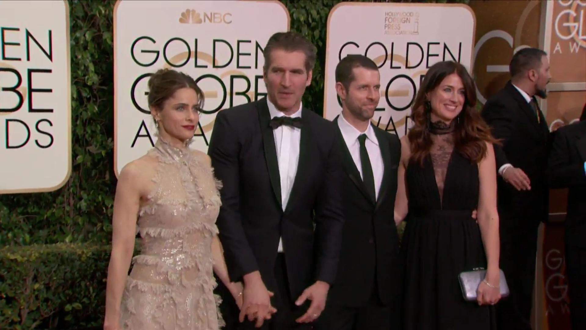La actriz Amanda Peet a su llegada a los Globos de Oro