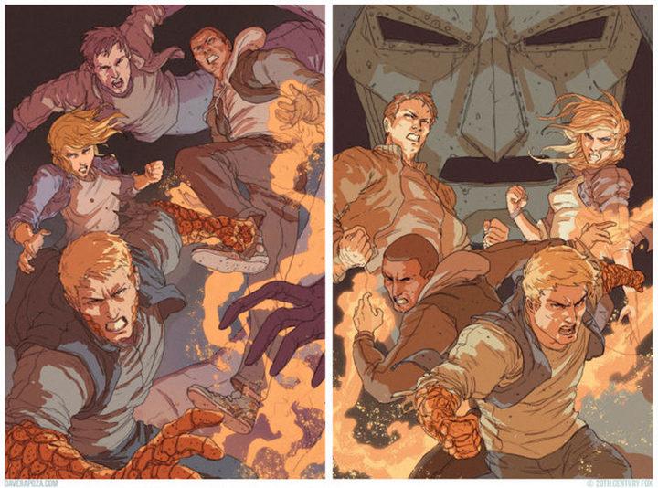 Dos ilustraciones de los Cuatro Fantásticos