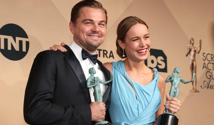 Leonardo DiCaprio y Brie Larson en los Screen Actors Guild Awards 2016