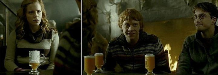 Los protagonistas de Harry Potter beben Butterbeer