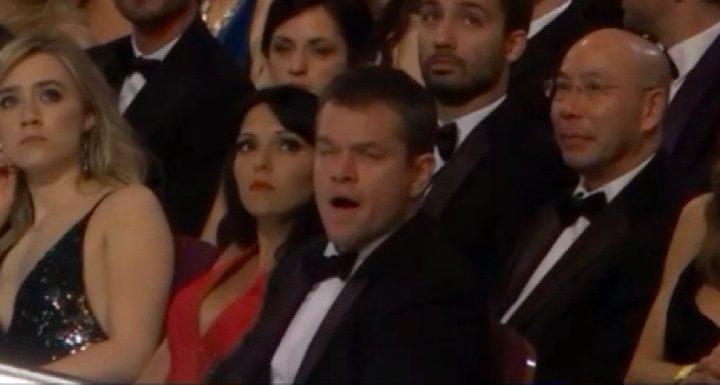 Matt Damon bosteza en la última gala de los Oscar