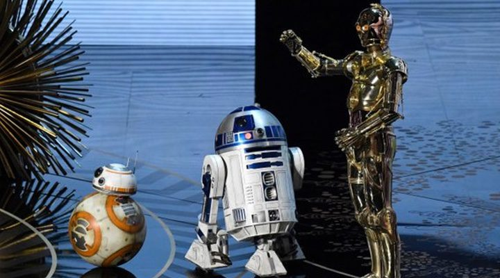 C-3PO, R2D2 Y BB-8 en la gala de los Oscar