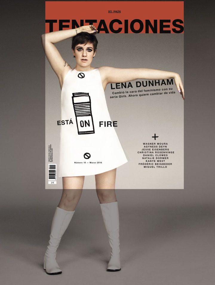 La portada de Tentaciones sobre la foto original de Lena Dunham
