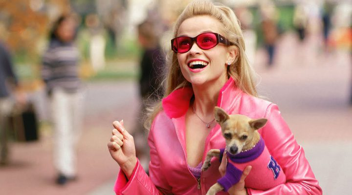 Reese y el fallecido perrito en una escena de 'Una rubia muy legal'