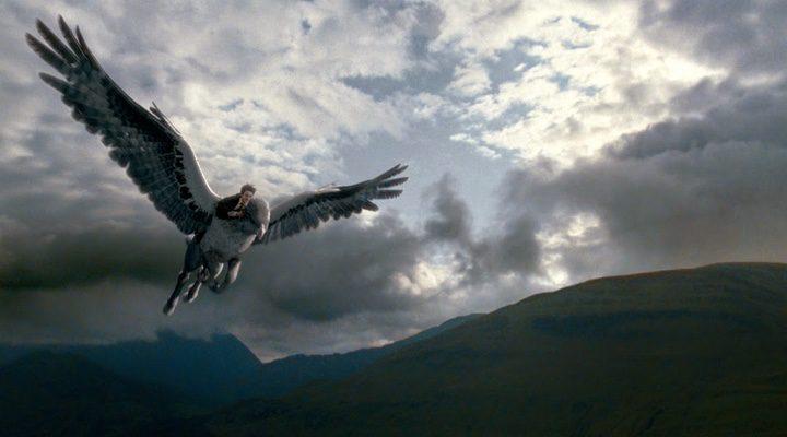 Harry Potter volando en hipogrifo