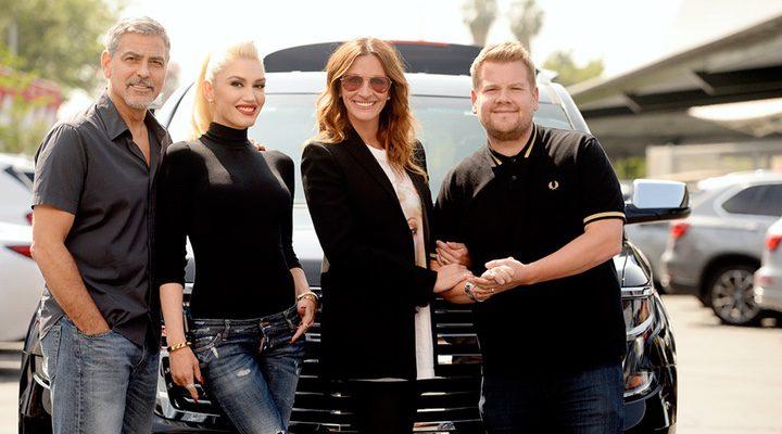 Gwen Stefani, Julia Roberts, George Clooney y James Corden en el 'The Late Late Show'