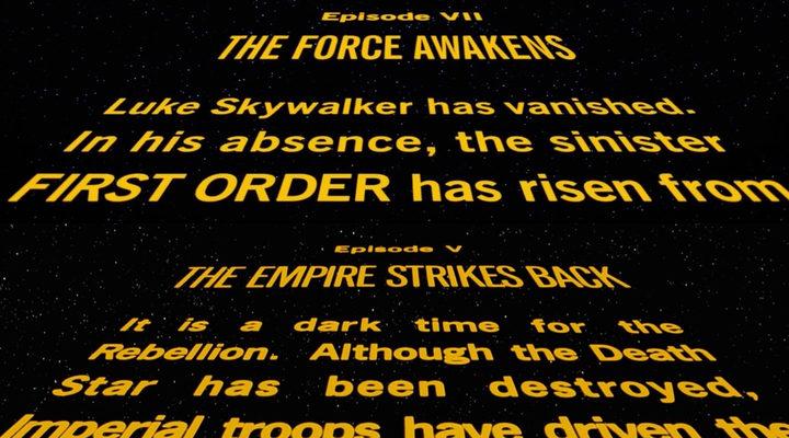 Comparación entre los rótulos iniciales de 'Star Wars'