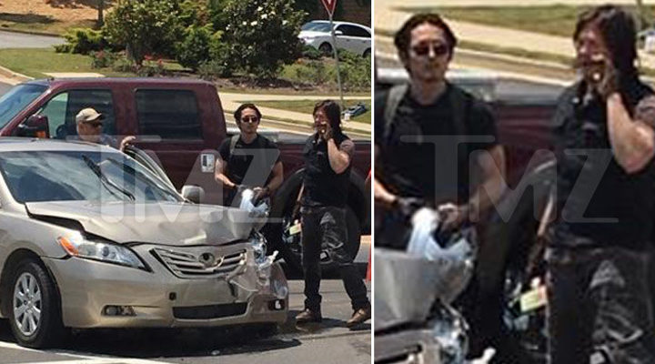 Norman Reedus y Steven Yeun de camino al rodaje de 'The Walking Dead'