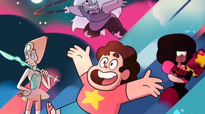 los protagonistas de 'Steven Universe': Steven Granate, Perla y Amatista