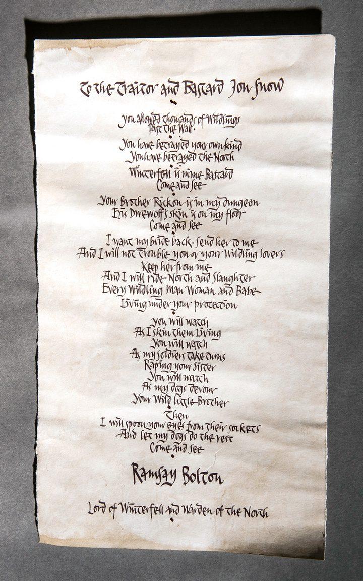Carta de Ramsay Bolton a Jon Snow