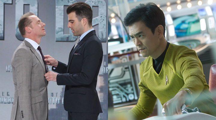Simon Pegg y Zachary Quinto y Sulu en 'Star Trek: Más allá'
