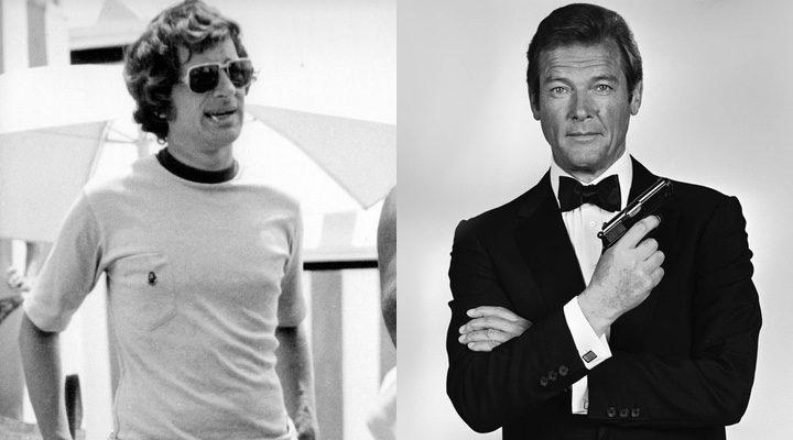 Steven Spielberg en 1975 y Roger Moore como James Bond