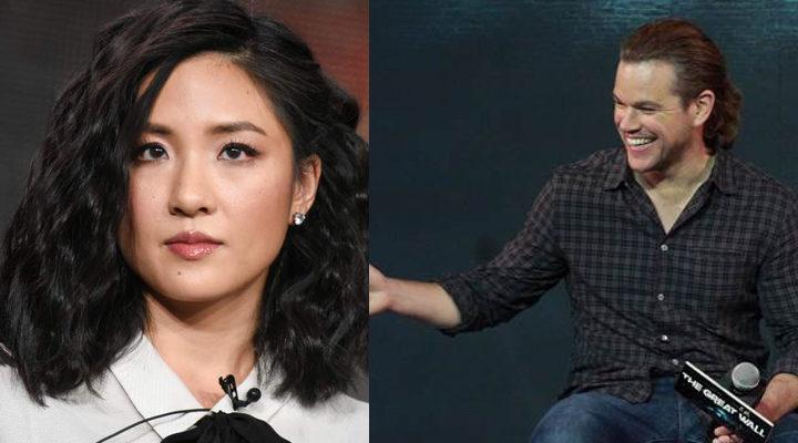 La actriz Constance Wu y el actor Matt Damon