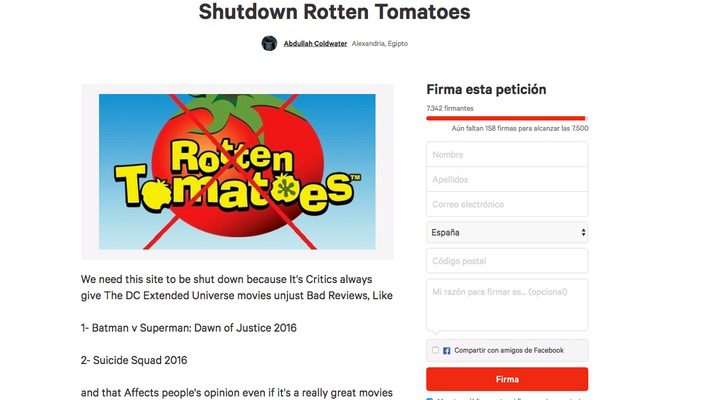 Petición Rotten Tomatoes