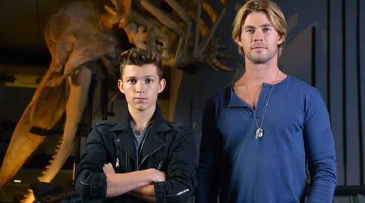 Tom Holland y Chris Hemsworth juntos