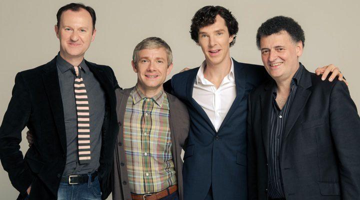 Mark Gatiss, Martin Freeman, Benedict Cumberbatch y Steven Moffat