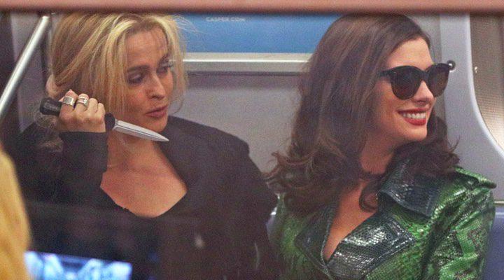 Helena Bonham Carter y Anne Hathaway en el rodaje de 'Ocean's Eight'