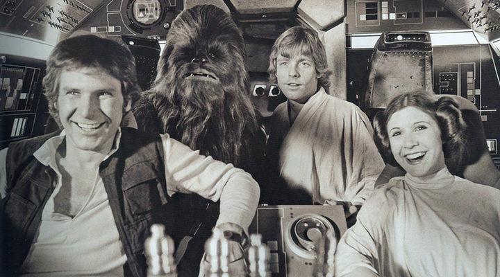 Carrie Fisher en el set de 'Star Wars'