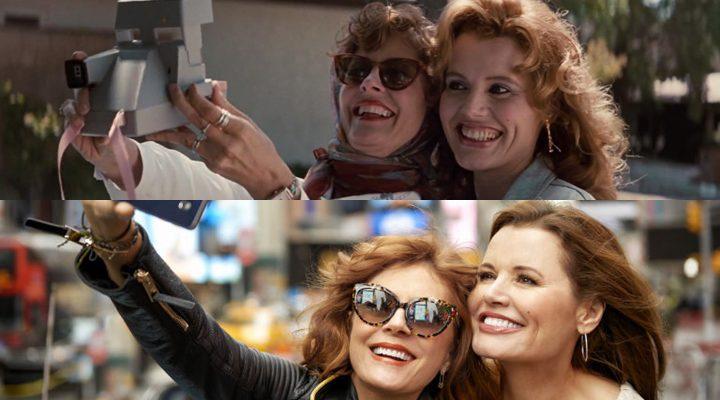 Susan Sarandon y Geena Davis haciéndose un selfie en un fotograma de 'Thelma y Louise' y en una sesión fotográfica