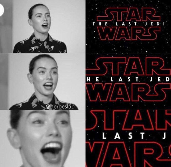 Reacción de daisey Rodley al título de ?star wars'