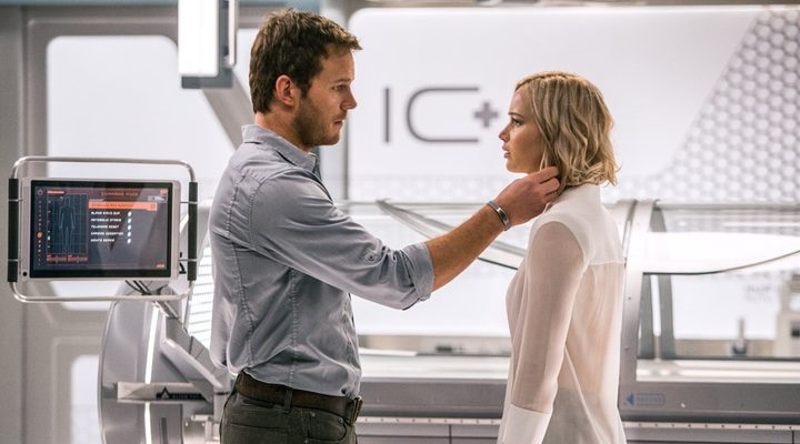 Chris Pratt y Jennifer Lawrence en 'Passengers'