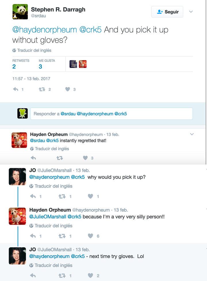 Captura de una conversación en Twitter