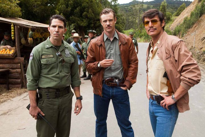 Pedro Pascal, Boyd Holbrook y Maurice Compte en Narcos