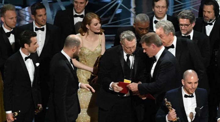 Caos en el escenario de la 89ª edición de los Premios Oscar