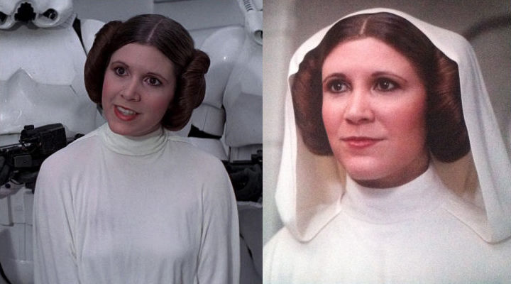 Carrie FIsher como la princesa Leia y Leia generada por CGI