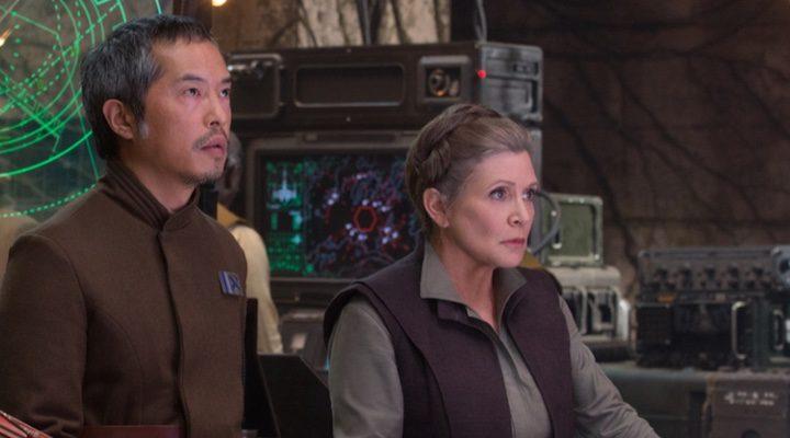 Carrie Fisher interpretando a Leia en 'Star Wars: El despertar de la fuerza'