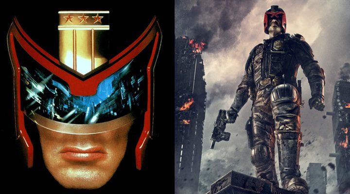 Stallone en 'Juez Dredd' y Karl Urban en 'Dredd'