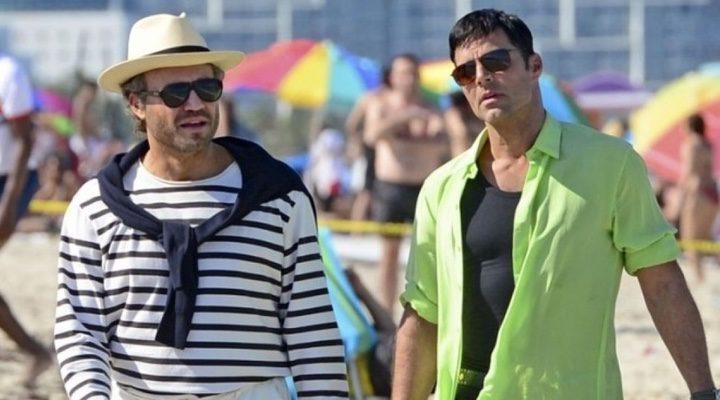 Edgard Ramirez y Ricky Martin en set de 'American Crime Story'