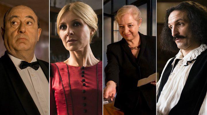 José Ángel Egido, Cayetana Guillén Cuervo, Francesca Piñón y Julián Villagrán como sus personajes en 'El Ministerio del Tiempo'