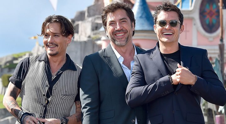 Johnny Depp, Javier Bardem y Orlando Bloom en Disneyland Paris