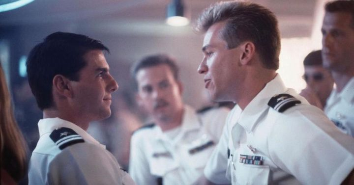 Val Kilmer y Tom Cruise en Top Gun