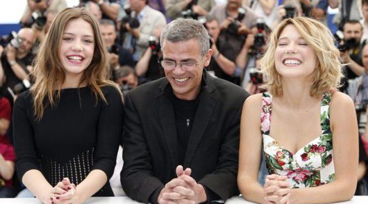 Abdellatif Kechiche, Adèle Exarchopoulos y Léa Seydoux en Cannes 2013