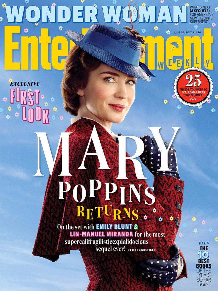 Portada de Entertainment Weekly con Emily Blunt caracterizada de Mary Poppins