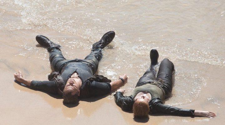 Chris Pratt y Bryce Dallas Howard en el set de 'Jurassic World: El reino caído'