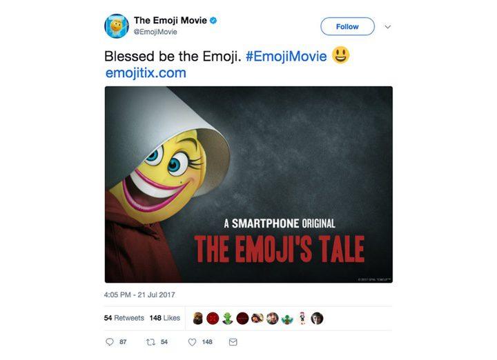 Captura de pantalla de la cuenta de Twitter de 'Emoji, la película'