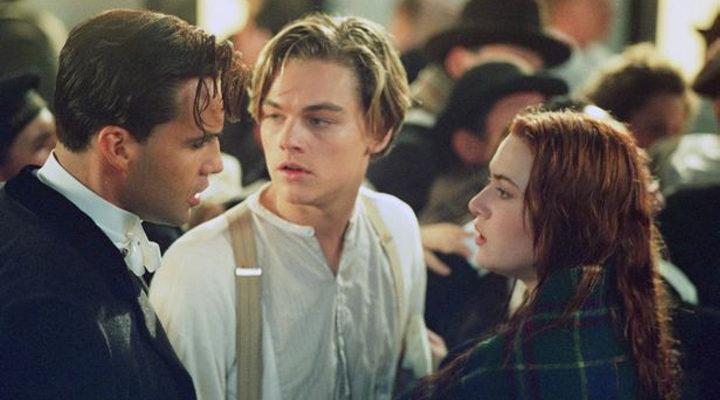 Leonardo Dicaprio, Kate Winslet y Billy Zane en Titanic