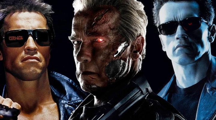 Arnold Schwarzenegger como Terminator en varias películas de la saga