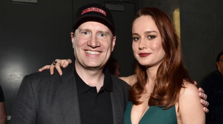 Brie Larson con el jefazo de Marvel, Kevin Feige