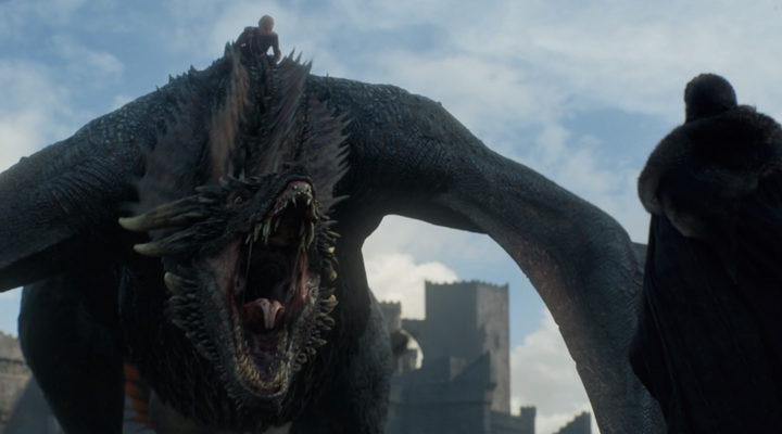 Drogon y Daenerys frente a Jon Snow