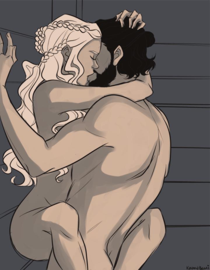 Jon Snow y Daenerys Targaryen en un fan art