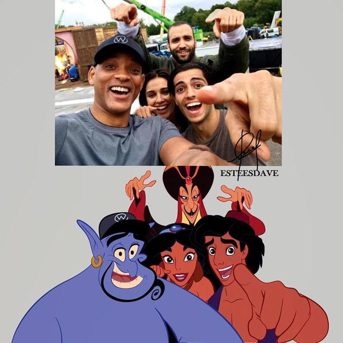 Protagonistas de 'Aladdin' en su versión animada