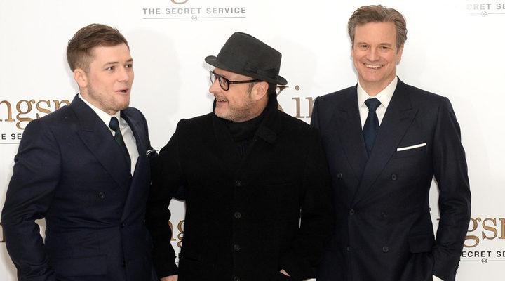 Taron Egerton, Matthew Vaughn y Colin Firth