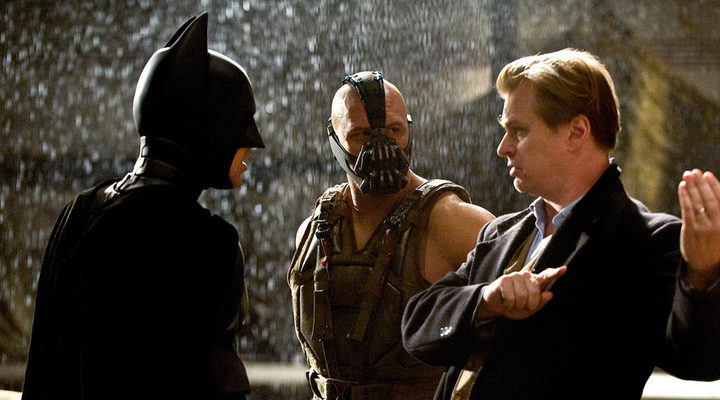 Christopher Nolan con Christian Bale y Tom Hardy