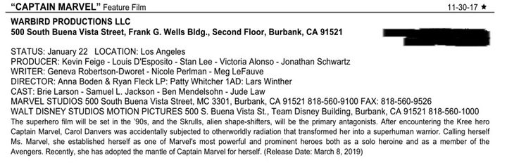 Documento de incio de rodaje de 'Captain Marvel'