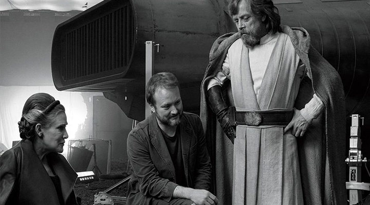 Rian Johnson, Mark Hamill y Carrie Fisher