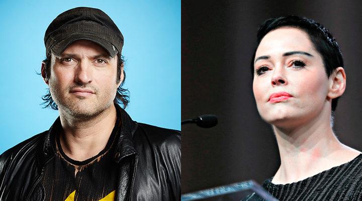 'Rose McGowan y el director Robert Rodriguez'